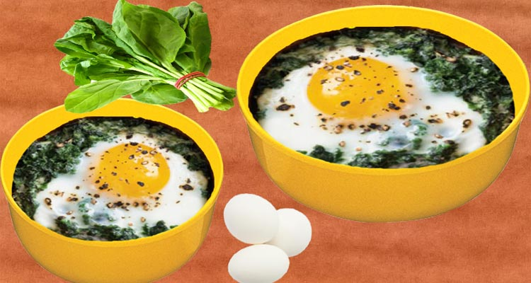 make baked eggs with spinach recipe